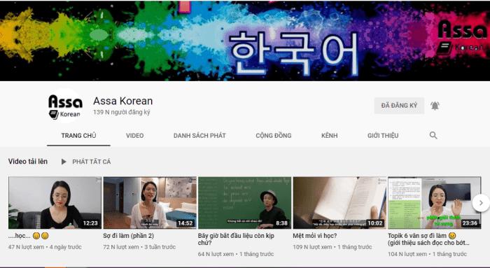 Kênh Youtube của Assa Korean